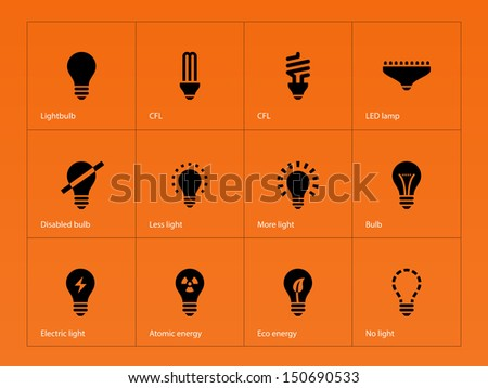 Light bulb and LED lamp icons on orange background. Vector illustration. - stock vector