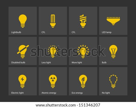 Light bulb and LED lamp icons. Vector illustration. - stock vector