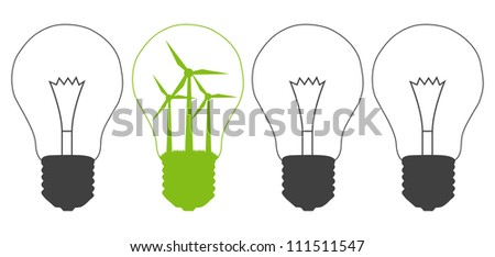 Light bulb and wind mill generator inside. Alternative energy concept vector background against pollution - stock vector