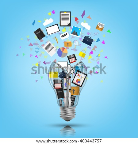 Light bulb bursting with icons and ideas.  - stock vector