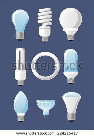 Light bulb collection set, with Capsules, High Lumen, Globes, Reflector, Specialty and Candles. Vector illustration cartoon.  - stock vector