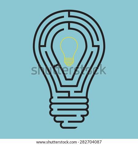 Light bulb conceptual with maze style, Vector - stock vector