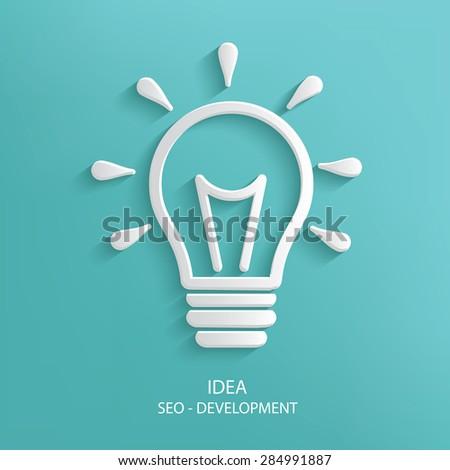 Light bulb design on blue background,clean vector - stock vector