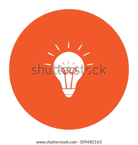 Light bulb. Flat white symbol in the orange circle. Vector illustration icon - stock vector