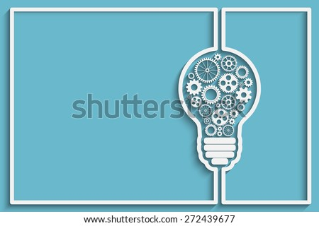 light bulb frame with gears and cogs working together. Eps10 vector background for your design - stock vector