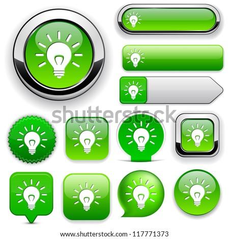 Light bulb green design elements for website or app. Vector eps10. - stock vector