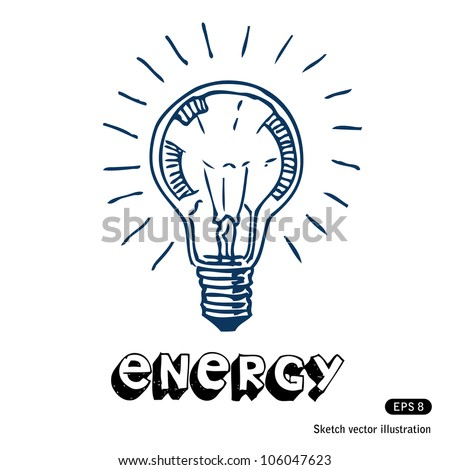 Light bulb. Hand drawn sketch illustration isolated on white background - stock vector