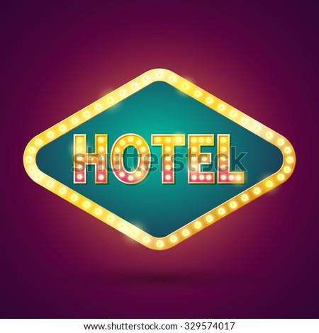 Light Bulb Hotel Sign. - stock vector