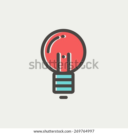 Light bulb icon icon thin line for web and mobile, modern minimalistic flat design. Vector icon with dark grey outline and offset colour on light grey background. - stock vector