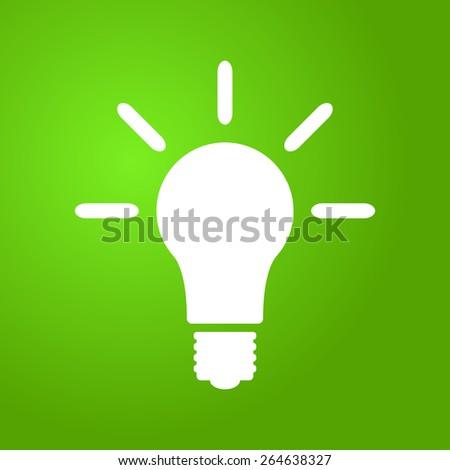 Light bulb icon on green background, vector illustration - stock vector