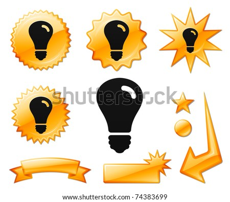 Light Bulb Icon on Orange Burst Banners and Medals Original Vector Illustration - stock vector