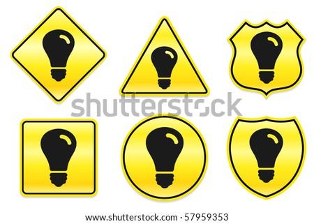 Light Bulb Icon on Yellow Designs Original Illustration - stock vector