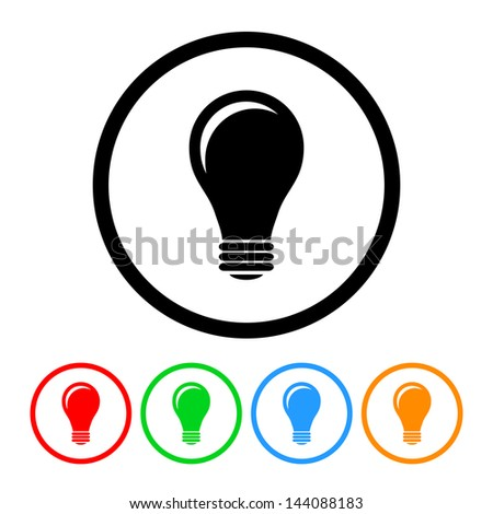Light Bulb Icon Vector with Four Color Variations - stock vector