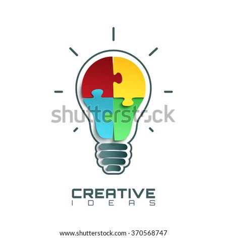 Light bulb icon with jigsaw puzzle pieces inside. Conceptual logo template. Vector illustration. - stock vector