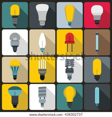 Light bulb icons set, flat style - stock vector