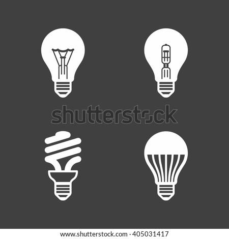 Light bulb icons. Standard, halogen incandescent, fluorescent and LED bulbs. Vector illustration.  - stock vector