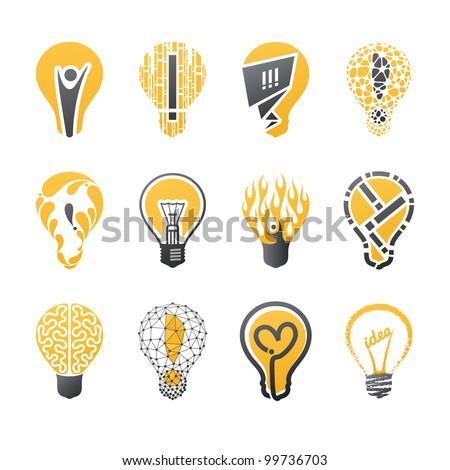 Light bulb idea. Collection of design elements. - stock vector