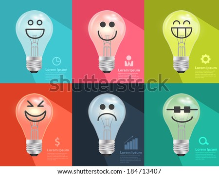 light bulb idea with creative drawing set of different emotions, Inspiration concept modern design template workflow layout, diagram, step up options, Vector illustration - stock vector