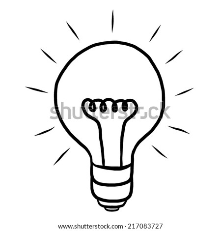 light bulb, ideas / cartoon vector and illustration, black and white, hand drawn, sketch style, isolated on white background. - stock vector