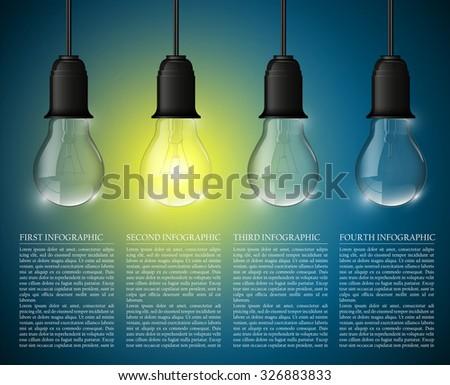 Light bulb illuminated, realistic vector illustration. stylish conceptual digital idea design - stock vector