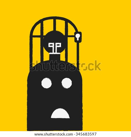 Light bulb in a cage, business concept - stock vector