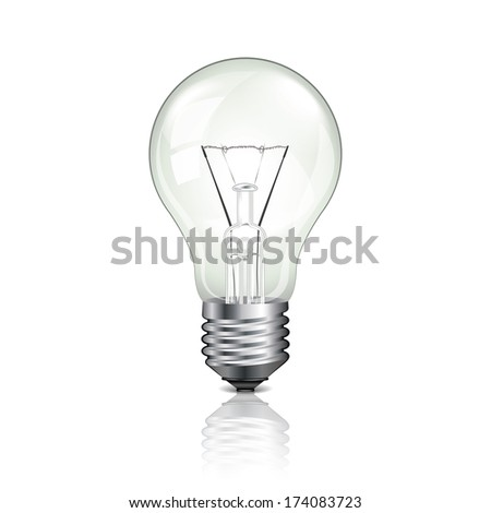 Light bulb isolated on white photo-realistic vector illustration - stock vector