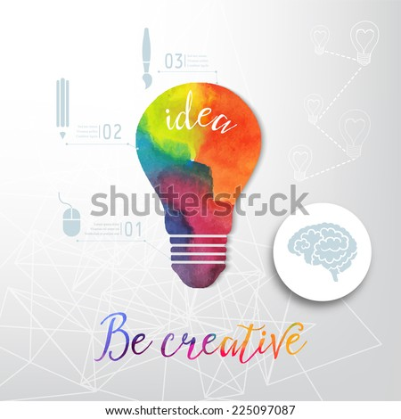 Light bulb made of watercolor, lightbulb and creative icons, watercolor creative concept. Vector concept - creativity and idea. Lettering. quote. Creative light bulb  - stock vector