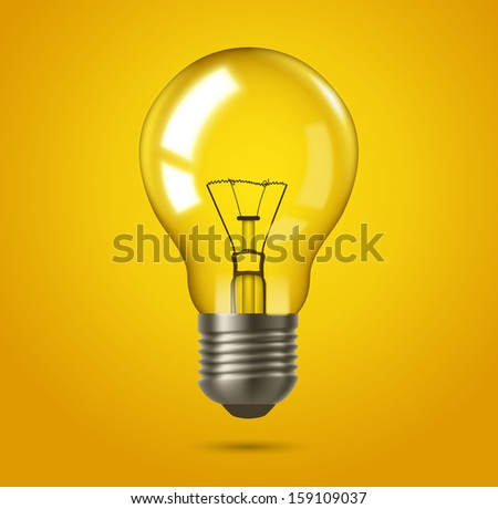 Light bulb. Made with transparent masks. - stock vector