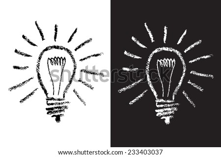 Light Bulb on Blackboard drawing with chalk, icon - stock vector