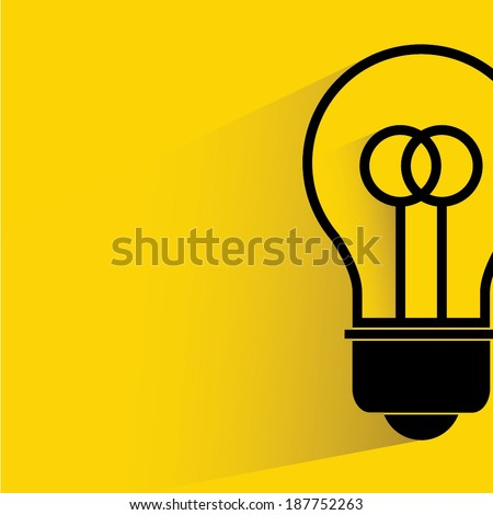 light bulb on yellow background, shadow and flat style - stock vector