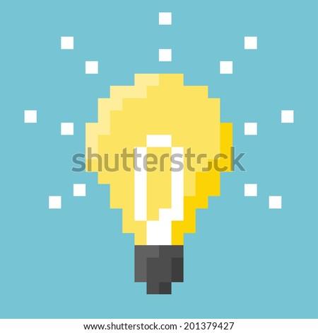 Light Bulb Pixel Concept. - stock vector