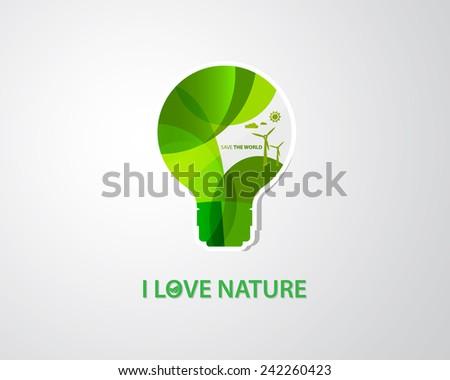 Light bulb save the world vector, Ecology bulb light, green eco energy concept - stock vector