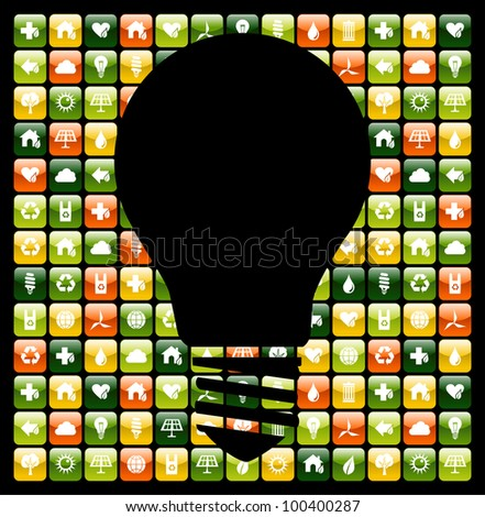 Light bulb symbol over global mobile phone green apps icon background. Vector file available. - stock vector