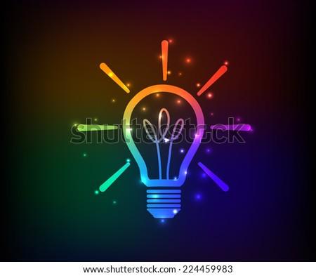 Light bulb symbol,rainbow vector - stock vector