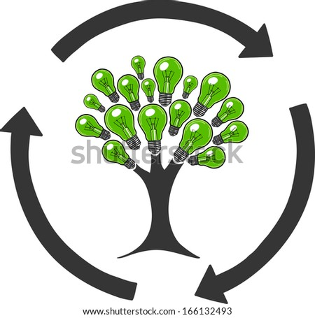 Light bulb tree recycle sign. Tree made of light bulbs. Ecology bulbs. - stock vector