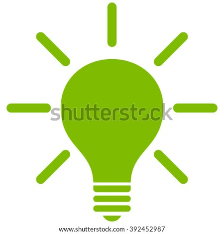 Light Bulb vector icon. Style is flat icon symbol, eco green color, white background. - stock vector