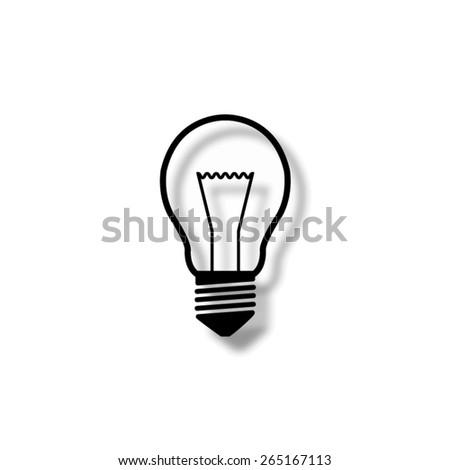 Light bulb  - vector icon with shadow - stock vector