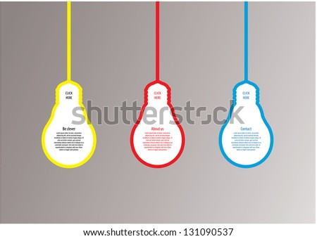 Light bulb vector labels. Modern template with space for your content. Clever idea, concept. Website element, stylized bulb. Three solutions, offer or options. Vector format, editable, sizable. - stock vector