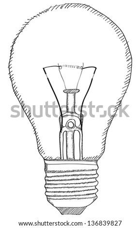 Light Bulb Vector Outline Sketched Up, Vector Illustration EPS 10. - stock vector