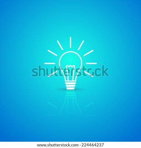 Light bulb white vector icon on blue background - stock vector
