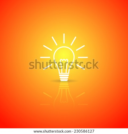 Light bulb white vector icon on orange background - stock vector
