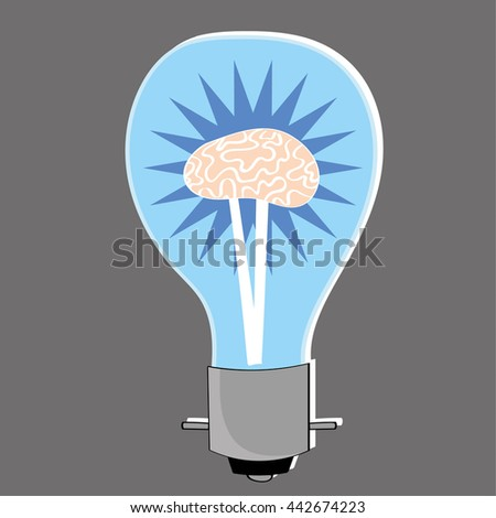 Light bulb with a human brain at the center as a metaphor for bright ideas and innovation - stock vector
