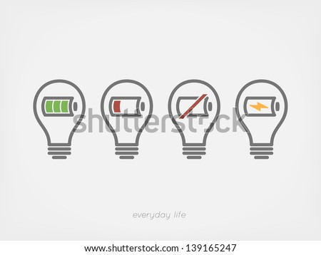 light bulb with battery icon - stock vector