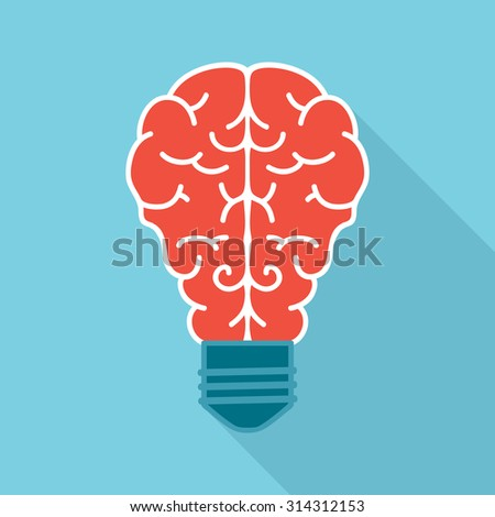 Light bulb with brain, flat icon design. Creative thoughts concept. - stock vector