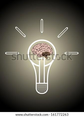 Light bulb with brain vector icon, idea concept - stock vector