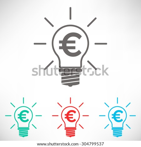 Light bulb with euro symbol business concept. Set of varicolored icons. - stock vector