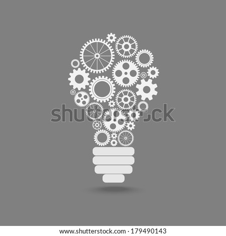 light bulb with gears and cogs working together - stock vector