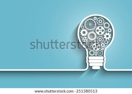 light bulb with gears and cogs working together. Eps10 vector abstract background for your design - stock vector
