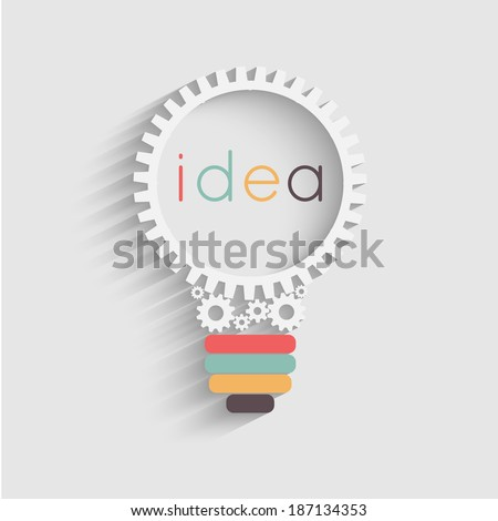 light bulb with gears and cogs working together, idea concept - stock vector