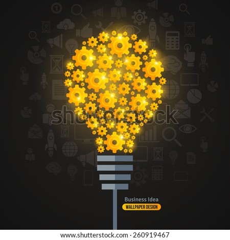 Light Bulb with Gears Pattern and Business Icons Background. Vector Illustration. Shining Light Bulb formed by Golden Gears. Business Idea Creative Concept. Idea Abstract Infographics Template. - stock vector